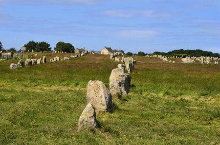alignement: Megalith stones in Carnac, France,
