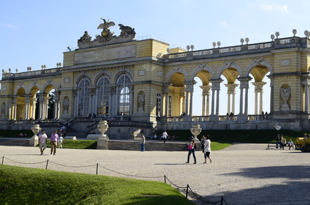 the gloriette: Vienna, Austria - September 17th 2012: Tourist attraction Gloriette, the baroque Unesco World Heritage building in the Schoenbrunn garden is now a cafe and viewing point