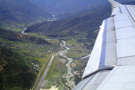 landing appoach to Paro airport in Bhutan