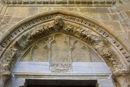 Cyprus, Nicosia, relief and sculpture on Selimiye mosque - former cathedral of Saint Sophia