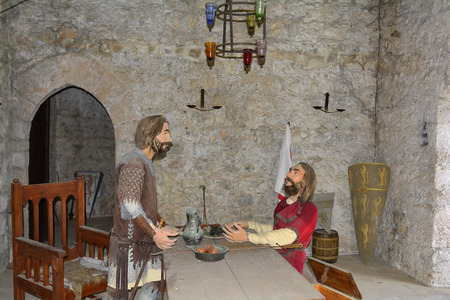 hilarion: Kyrenia, Cyprus - October 18th 2015: Knight sculptures in a room of Saint Hilarion castle near Kyrenia aka Girne