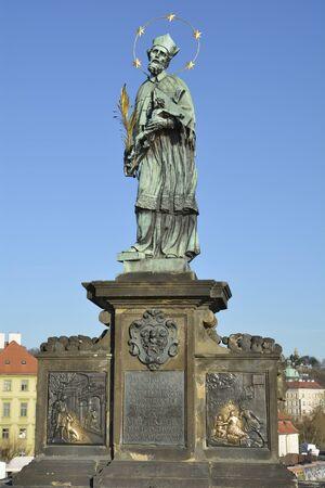 Prague, Czech Republic - statue of saint Nepomuk on Charles bridge 版權商用圖片 - 49050705
