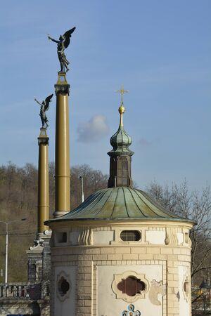 most: Prague, Czech Republic - chapel Maria Magdalena and sculptures on Cechuv Most aka Czech bridge Stock Photo