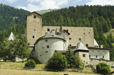 Nausers, Austria - June 23rd 2014: Castle Naudersberg in Tyrol the landmark of Nauders on the border to South Tyrol
