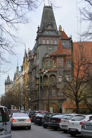 stare mesto: Prague, Czech Republic - December 2nd 2015: Buildings and traffic in the inner city, Stare Mesto