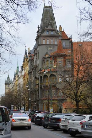 stare mesto: Prague, Czech Republic - December 2nd 2015: Buildings and traffic in the inner city, Stare Mesto