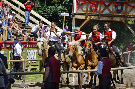 oswald: Siusi, Italy - June 16th 2013: Unidentified actors and spectators by horse-riding event named Oswald von Wolkenstein Ride, this traditional horseback riding tournament is held every year in South Tyrol around Castelrotto Castelrotto village and a wellkn
