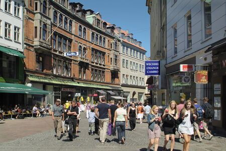 precinct: Copenhagen, Denmark - June 23rd 2009: Unidentified people on Stroget, preferred shopping street and pedestrian precinct
