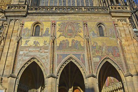 vitus: Prague, Czech Republic - artful mosaic on Saint Vitus cathedral Stock Photo