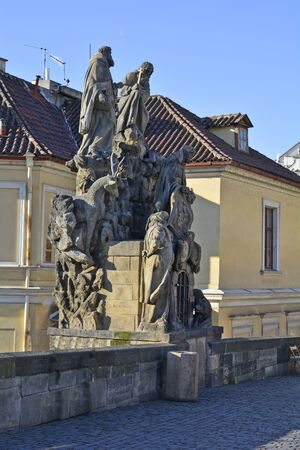 Prague, Czech Republic - sculpture on Charles bridge 版權商用圖片 - 50513287
