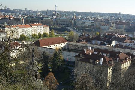 Prague, Czech Republic - cityscape with Molday river and Manesuv bridge