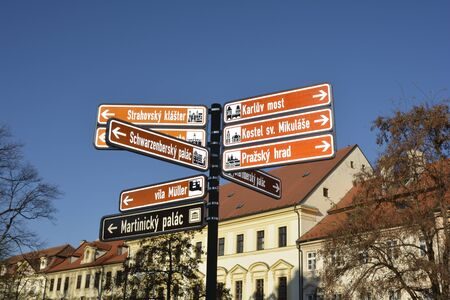 Prague, Czech Republic - way sign to different tourist attractions