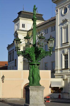 artful: Prague, Czech Republic - artful lantern on square of Prague castle