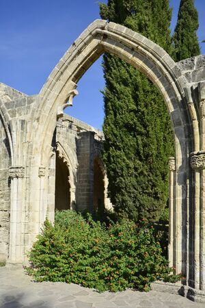 archway: Cyprus, archway in the medieval gothic abbey Bellapais