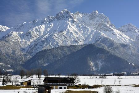 saalfelden: Austria, winter in Salzburg county with Hochkoenig range Stock Photo