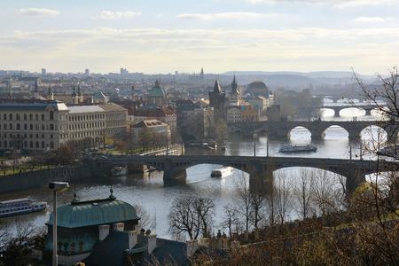 river scape: Prague, Czech Republic - city scape with bridges over river Moldau Stock Photo