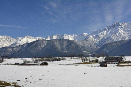 saalfelden: Austria, winterly landscape with Hochkoenig range