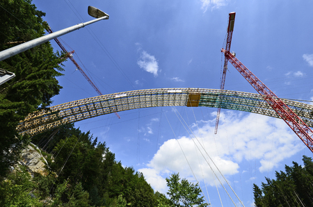 upper austria: Austria, bridge construction for motorway in Upper Austria Stock Photo