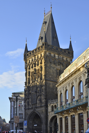 Prague, Czech Republic - December 3rd 2015: Unidentified people on sightseeing and powder tower in old town district  Stare Mesto Redakční