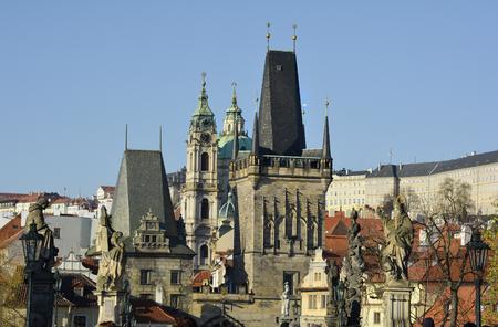 saint nicolas: Prague, Czech Republic - charles curch with bridge tower and Saint Nicolas church