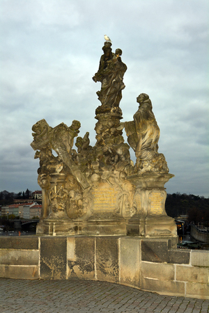 charles bridge: Prague, Czech Republic - sculpture on Charles bridge aka Karluv Most
