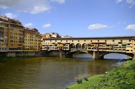 arno: Italy Florence, bridge Ponte Vecchio over river Arno