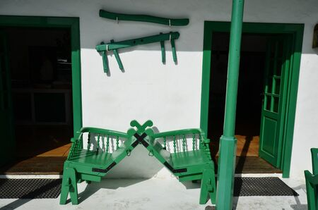 lanzarote: seat and equipment for camel riding, Lanzarote Stock Photo