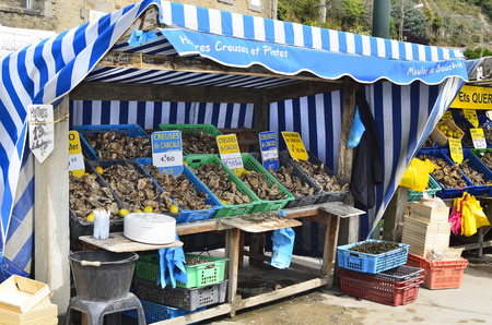 France, Brittany, oyster shop in Cancale Editorial