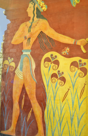 minoan: Greece, Crete, fresco named Prince of Lillies in the ancient Minoan palace in Knossos