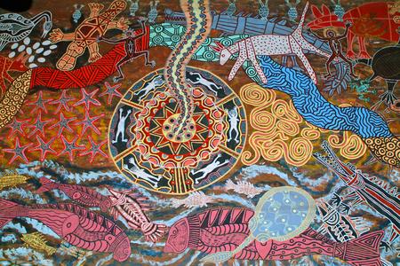 aborigines: Kuranda, Australia - March 1st 2005: Aborigines painting in traditional style