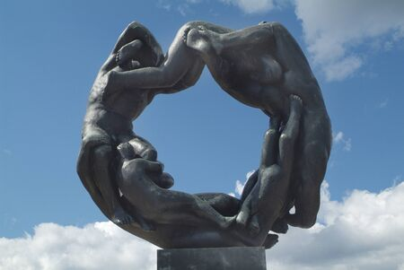preferred: Oslo, Norway - June 21st 2009: Sculpture in Vigeland park, a public park with different artifacts and preferred tourist attraction
