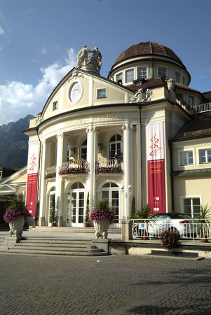 meran: Meran, Italy - September 11th 2008: Entrance of the traditional spa building in the city in South Tyrol Editorial