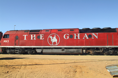 nt: Alice Springs, Australia - February 28th 2008: The Ghan - the train through Australia from south to north by stop in Alice Springs station Editorial