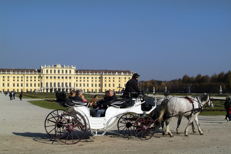 schoenbrunn: Vienna, Austria - October 31st 2010: Unidentified tourists in horse drawn coach named Fiaker - on sightseeing in Schoenbrunn