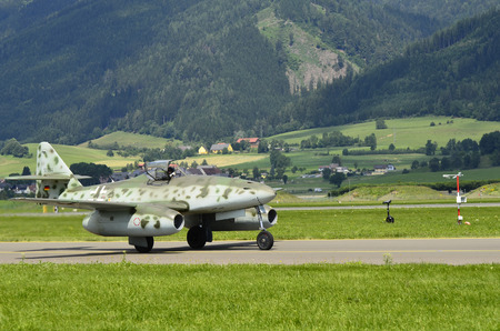 ww2: Zeltweg, Austria - July 1st 2011: Messerschmitt ME 262 aircraft from the second World War by airshow - airpower11 - in Zeltweg, the 1st jet fighter in WW2,
