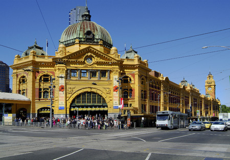 flinders: Melbourne, Australia - November 9th 2006: Unidentified people and public tram in front of Flinders Street station