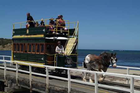 31st: Victor Harbor, Australia - January 31st 2008: nostalgic horse drawn tram between Victor Harbor and Granite Island Editorial