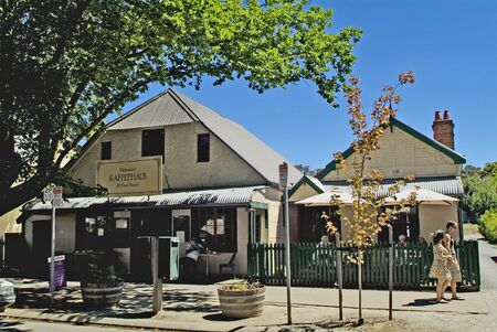 coffeeshop: Hahndorf, Australia - January 27th, 2008: Unidentified people and coffeeshop - coffeehouse in Hahndorf - The Village near Adelaide which foundet by German immiagrants