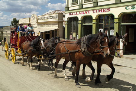ballarat: Ballarat, Australia - January 23rd 2008: Unidentified people, buildings and stage coach on Sovereign Hill, rebuilt gold digger village and preferred tourist attraction