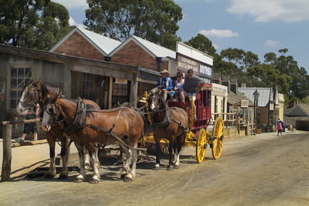 ballarat: Ballarat, Australia - January 23rd 2008: Unidentified people in stage coach on Sovereign Hill, rebuilt gold digger village and preferred tourist attraction Editorial