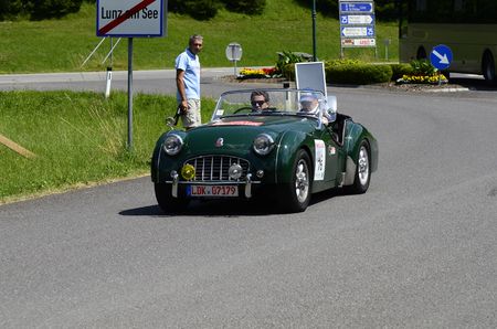 technics: Lunz am See, Austria - July 19th 2013: Triumph TR3 on Special Stage by International Ennstal Classic 2013, a yearly tournament through Austria for vintagecars