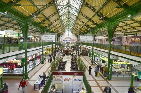 sofia: Sofia, Bulgaria - September 28th 2013: Unidentified people and different shops in the Central Sofia Market Hall Editorial
