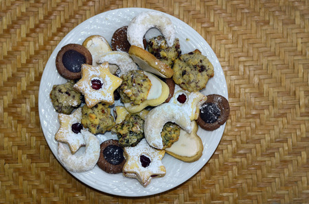 plate: plate with traditional Christmas biscuits Stock Photo