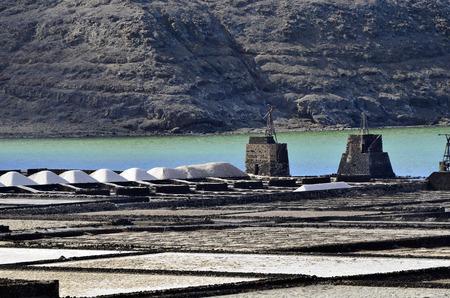 lanzarote: Salt production area Salinas del Janubio, Lanzarote, Spain