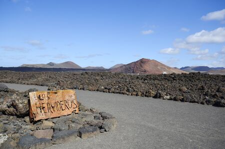 los hervideros: Spain, sign to the natural spectacle and tourist attraction Los Hervideros on Lanzarote
