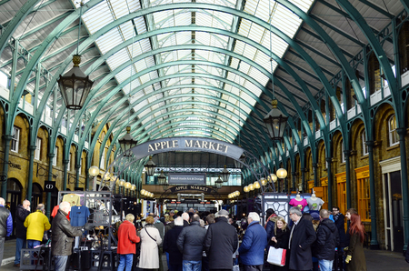 covent garden market: London, Great Britain - January 16th 2016: Unidentified people in Covent Garden market Editorial