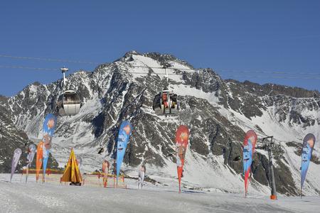 preferred: Stubai, Austria - December 23rd 2015: Cable car in ski resort stubaier glacier, preferred mode of transport Editorial