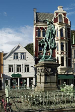 Bergen, Norway - buildings, shops and memorial of poet Holberg