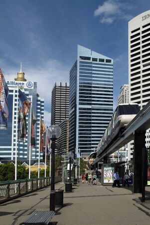 monorail: Sydney, Australia - February 11th, 2008: Unidentified people and monorail crossing Pyrmont Bridge