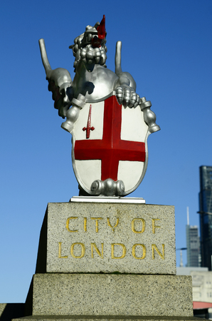 great britain: Great Britain, London, sculpture with flag of London